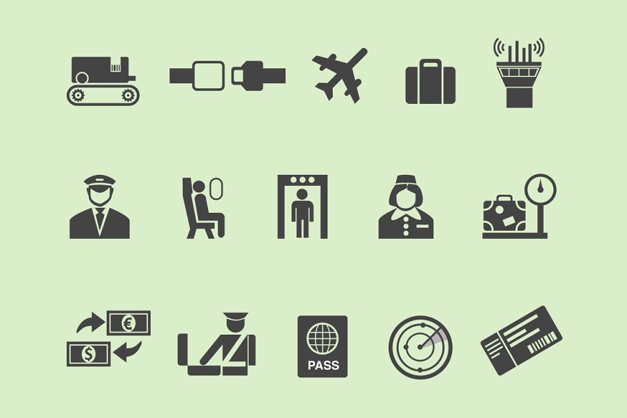 15 Airline and Airport Icons