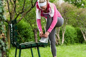 Woman doing workout at the park