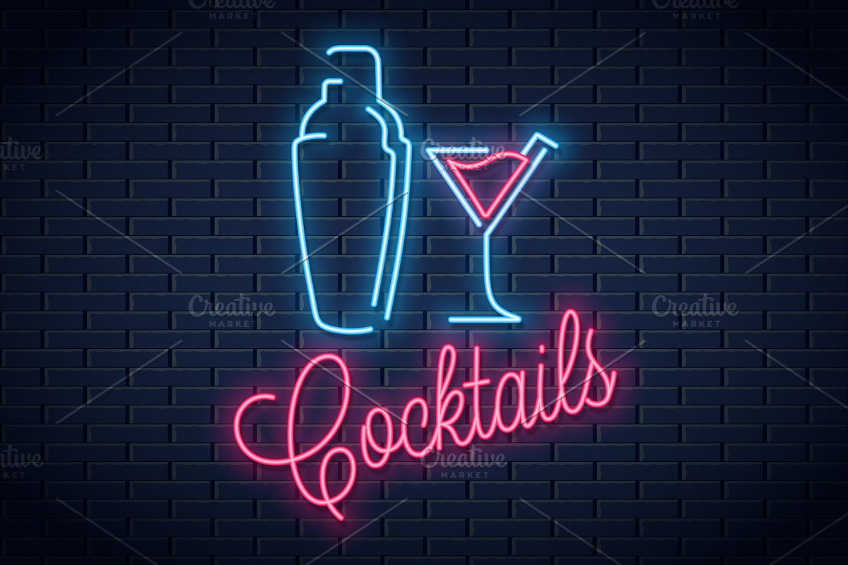 Shaker neon logo. Cocktail party.