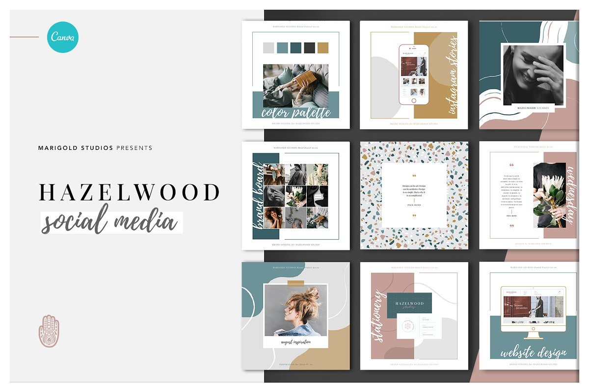 Hazelwood Social Canva Ppt Social Media Templates