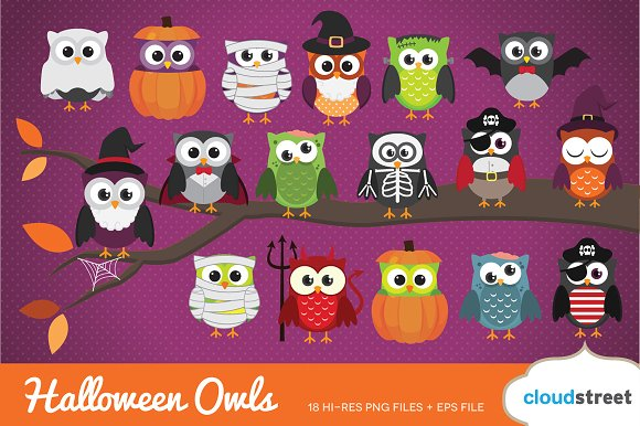 Halloween Owls Clip Art ~ Illustrations ~ Creative Market