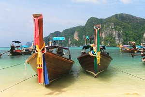 Thailand Traditional Longtail Boats