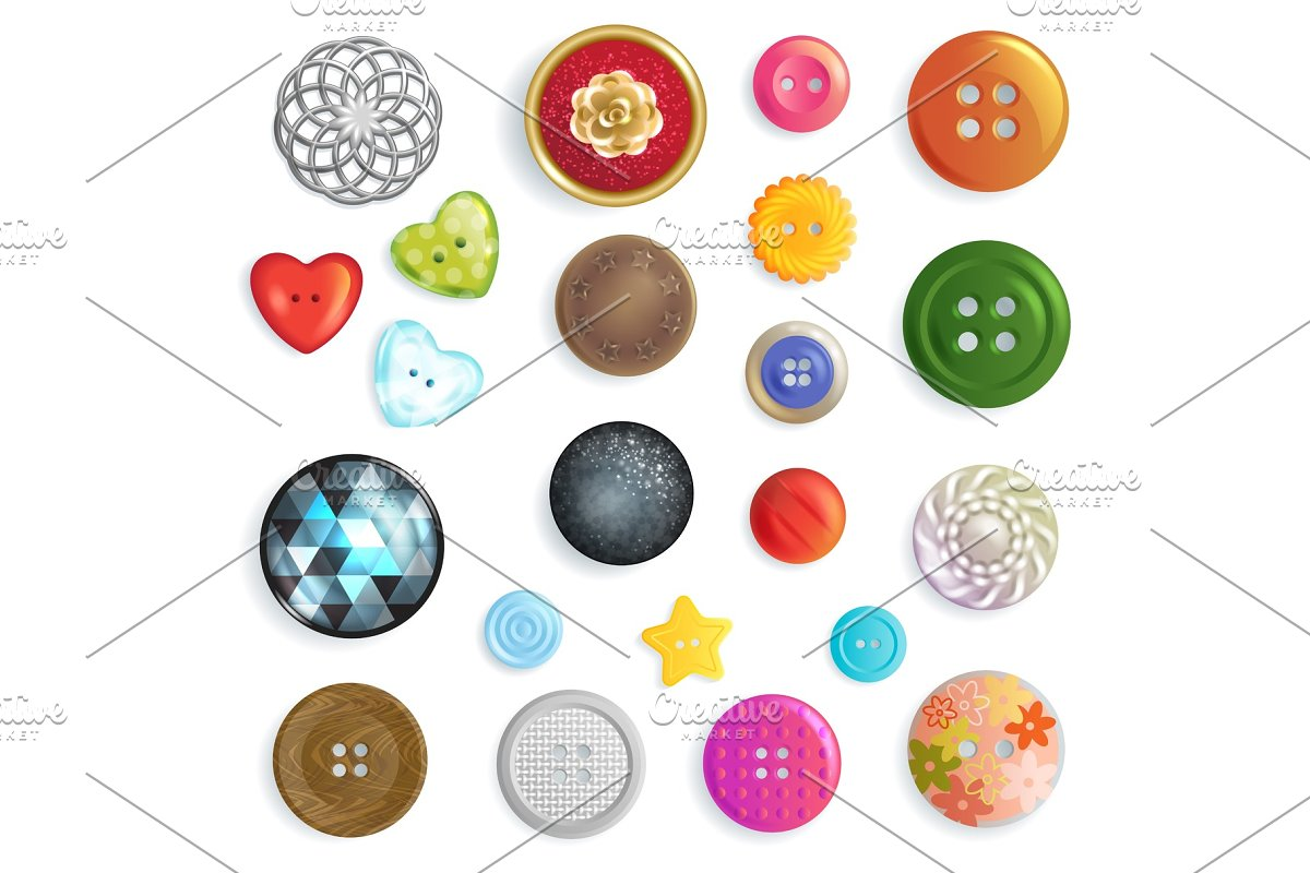 Sewing button vector fashion design