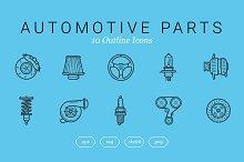 Automotive Parts (10 Outline Icons)