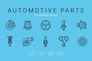 Automotive Parts (10 Outline Icons)