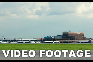 Timelapse of moving planes airport