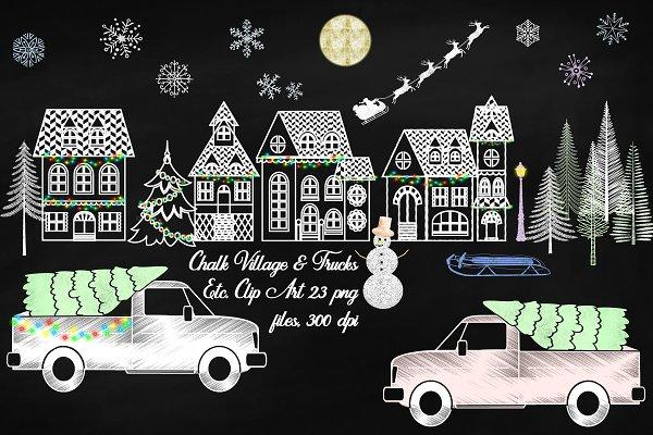 Chalk Christmas Village, Etc ClipArt