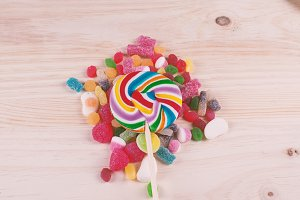 Candy lollipop on various colors