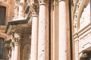 Decorated pillars of a cathedral