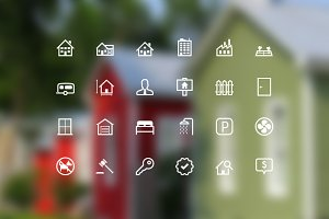 Flat Real Estate Vector Icons