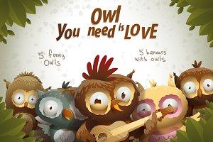 Owls, vector
