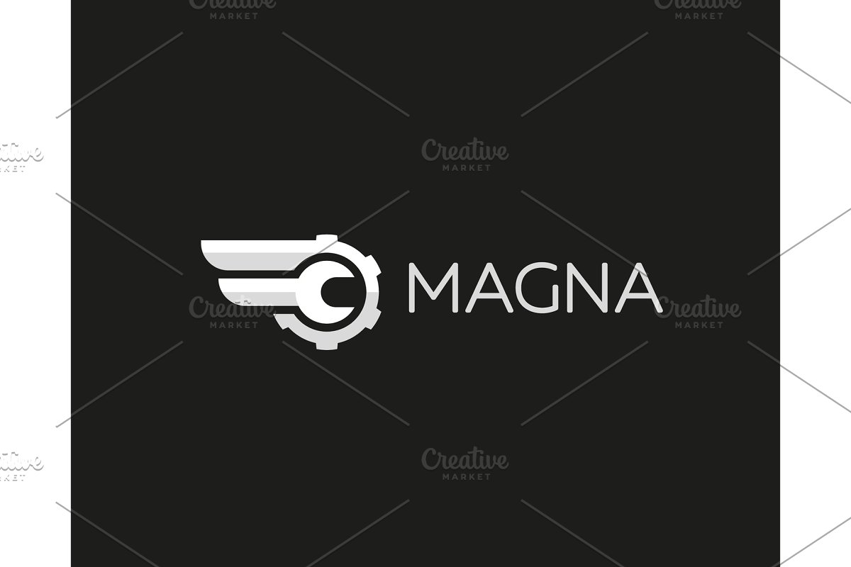 Wrench cogwhell logo design abstract