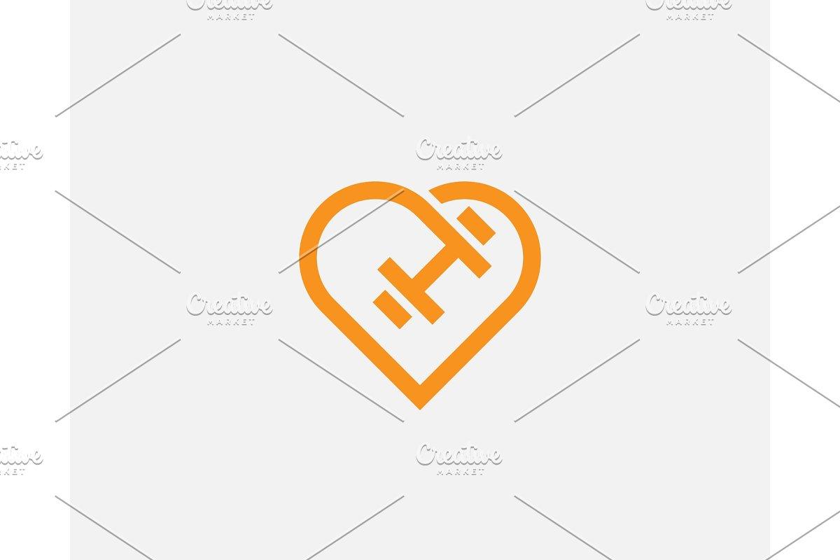 Heart dumbbell vector logotype. Love