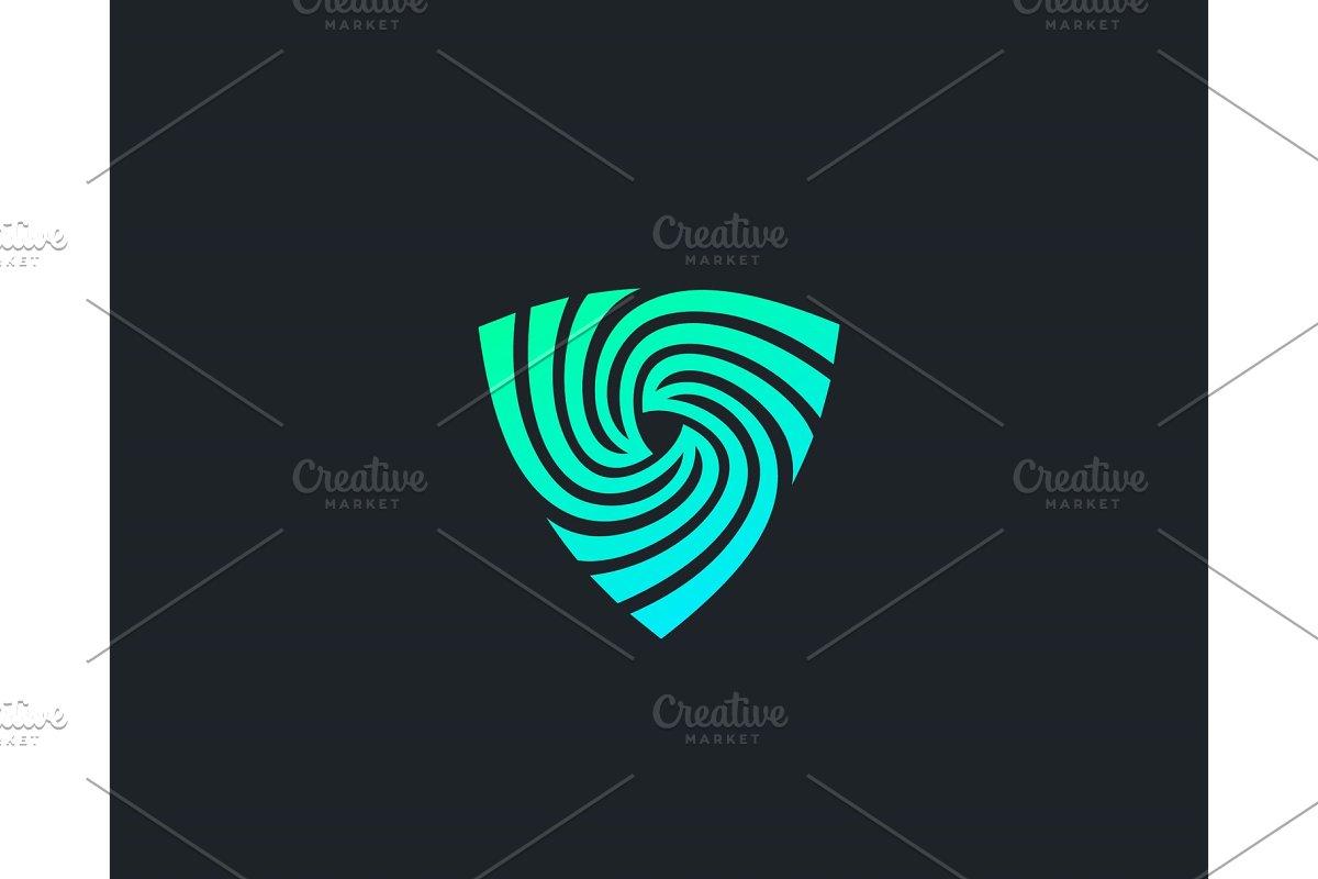 Shield spin logo design abstract