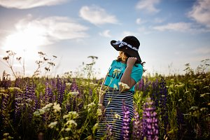 Lady in fields