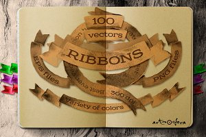 Vector Ribbons Watercolor Set