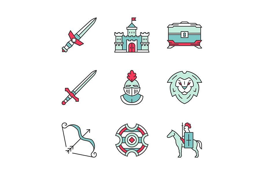Medieval color icons set