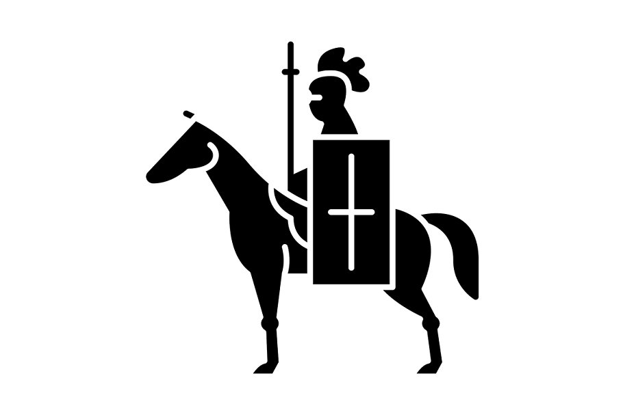 Horse knight with flag glyph icon