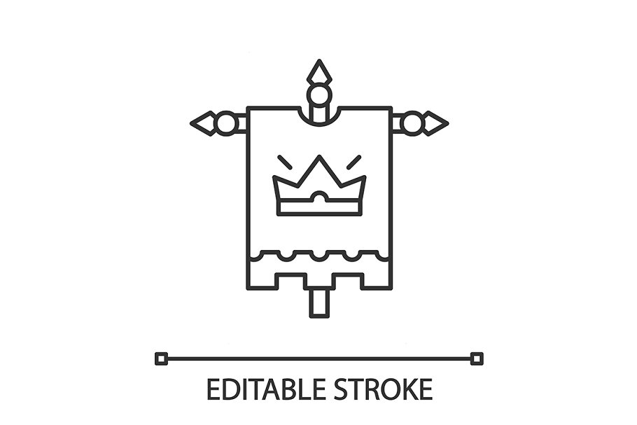 Medieval king flag linear icon