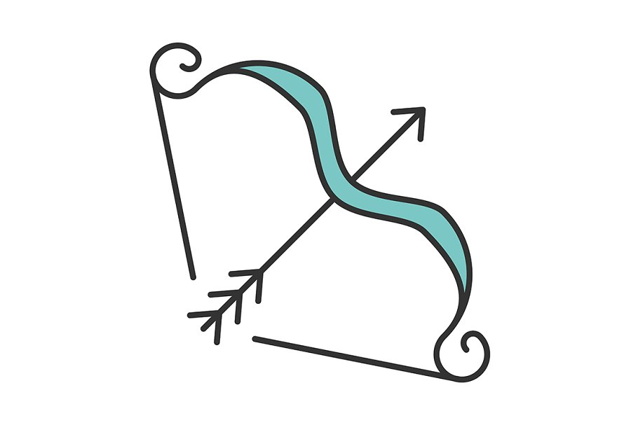 Bow and arrows color icon