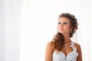 Stylish luxury gorgeous bride standi