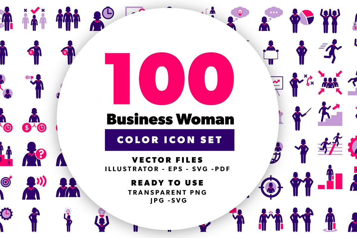 Business Woman Color Icons
