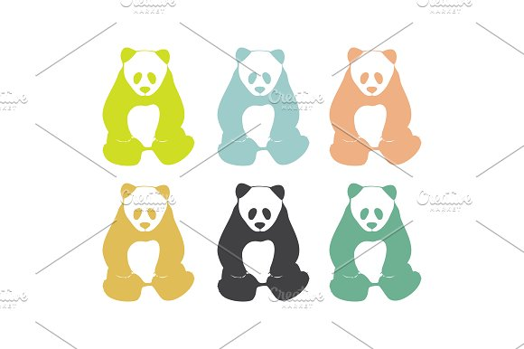 Panda Bears. Logo elements. - Illustrations