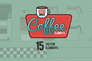 Retro Diner Coffee Elements