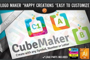 Colorful Flat Cube Logo Maker Set