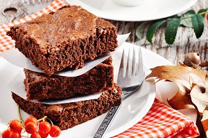 Chocolate brownies, autumn setting