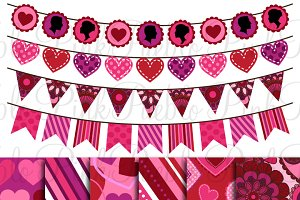 Valentine's Day Bunting and Paper