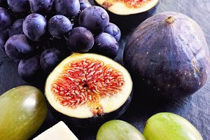 Cheese, grapes, and figs