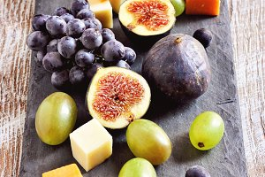 Cheese plate and fruits