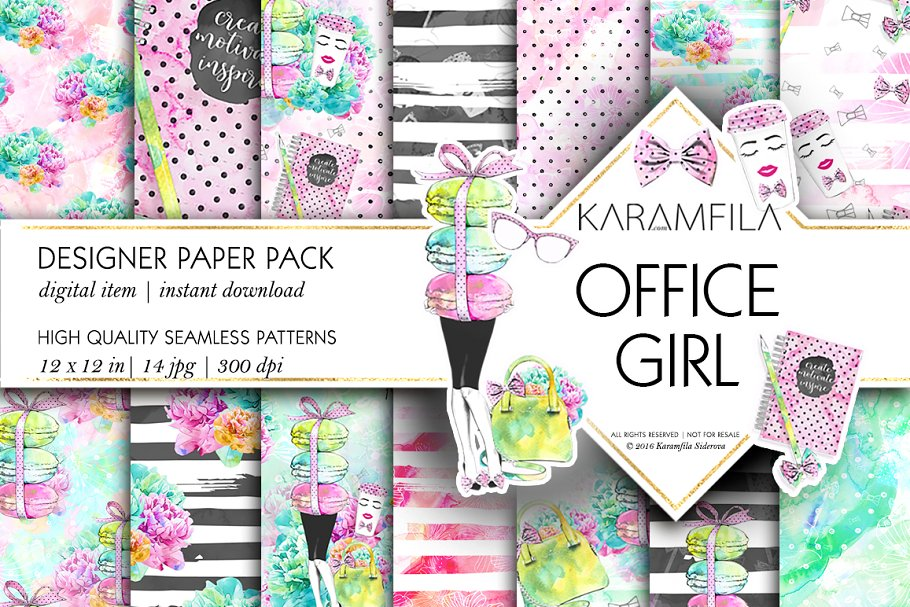 Office Girl Seamless Patterns in Patterns - product preview 8