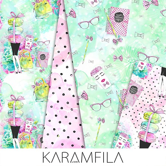 Office Girl Seamless Patterns in Patterns - product preview 2