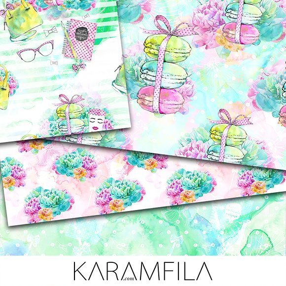 Office Girl Seamless Patterns in Patterns - product preview 3