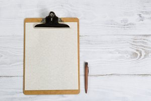 Clipboard with Vintage Pen
