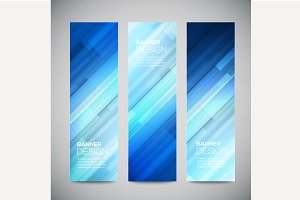 Blue low poly vector vertical banner