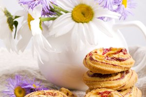 biscuits with jam and tea