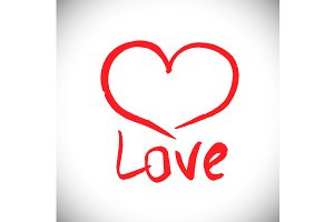 "Vector freehand letters ""love"" text"