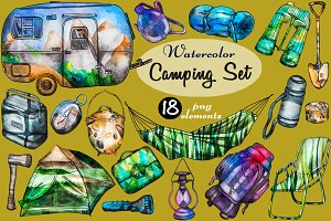 Watercolor Camping Set