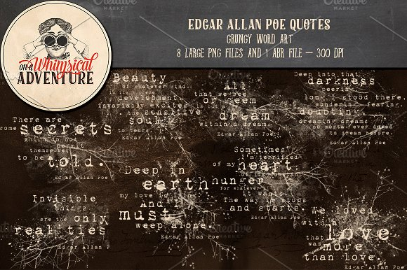 Edgar Allan Poe Quotes in Photoshop Brushes