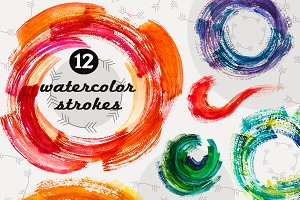 Set of 12 Watercolor Strokes