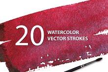20 Watercolor Vector Strokes