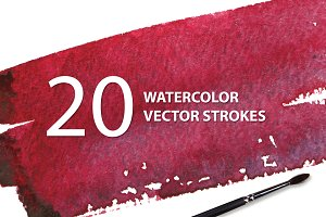 20 Watercolor Vector Strokes