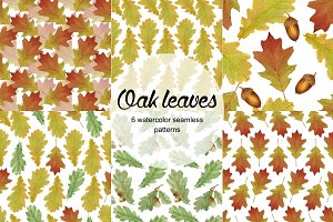 Oak leaves 6 seamless patterns