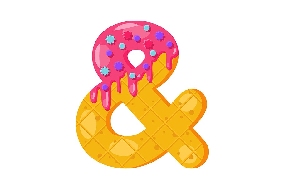 Donut cartoon ampersand symbol