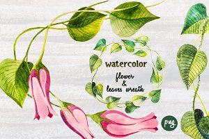 Watercolor Flower and Leaves Wreath