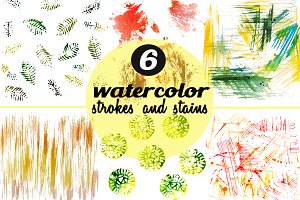 Set of 6 Watercolor Strokes & Stains
