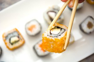 Sushi. Salmon and caviar rolls